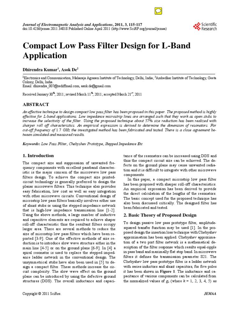 Compact Chebyshev Low Pass Filter Design for L-Band