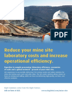 ALS Mine Site - Reduce Onsite Laboratory Costs