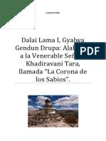Dalai Lama I, Gyalwa Gendun Drupa Alabanza a Tara, Llamada La Corona de Los Sabios.