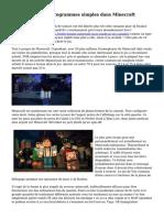 Clarification des programmes simples dans Minecraft