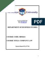 Bbm4101 Company Law