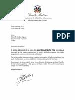 Carta de Condolencias del Presidente Danilo Medina a Víctor R. Sánchez Jáquez por Fallecimiento de su Padre, Víctor Manuel Sánchez Peña