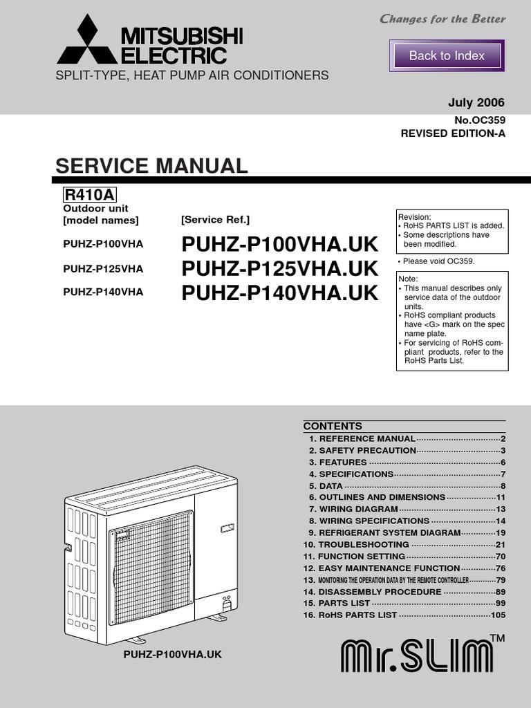 Service Manual Puhz P100 140vha Cable Hvac Simple Speed Diagram L200 Dc Motor Control Circuit