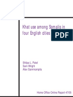 Khat use among Somalis in four English cities - UK Home Office report