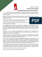 Avis CGT Sur Le Projet de Réorganisation Du Service D2S/MCS