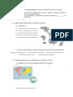 Ficha Formativa Os Continentes e Oceanos 1