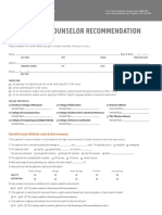 DePaul's counselor recommendation form