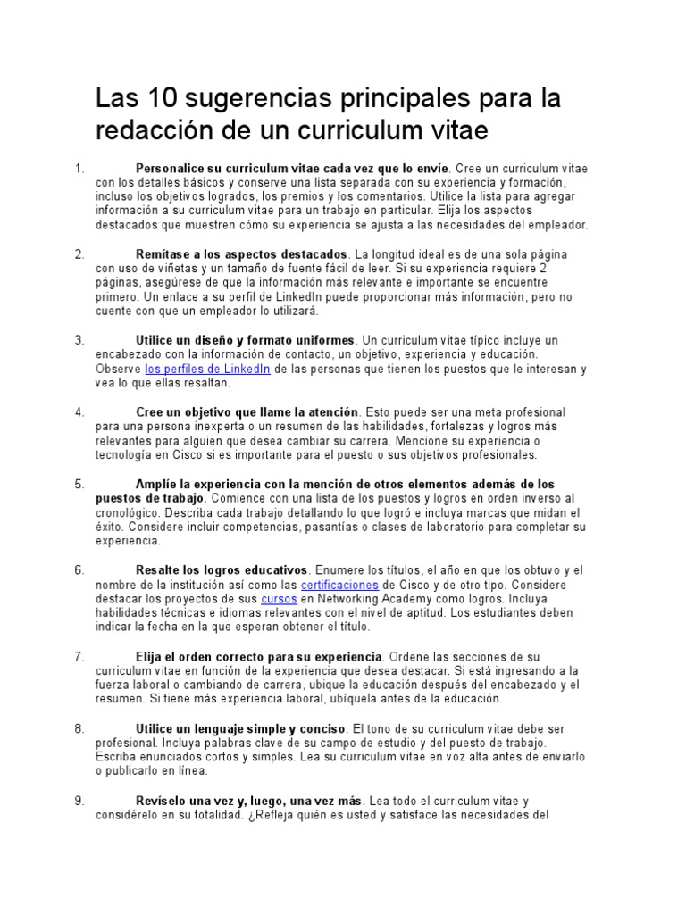 Las 10 Sugerencias Principales Para La Redaccion De Un Curriculum