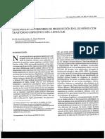 Analisis de la revisión de los errores de producción en niños con trastorno del lenguaje