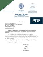 Council Member Lancman's Letter to Parks Commissioner Silver