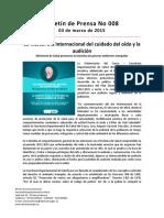 Boletín 008 03 Marzo Día Internacional Del Cuidado Del Oído y La Audición