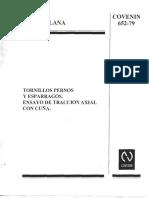 Covenin 652-79 Tornillos, Pernos y Espárragos. Ensayo de Tracción Axial Con Cuña