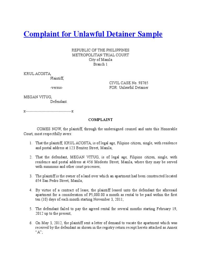 Complaint For Unlawful Detainer Sample Lawsuit Complaint