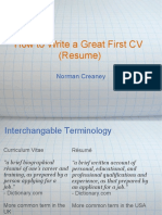 How to Write a Great First CV
