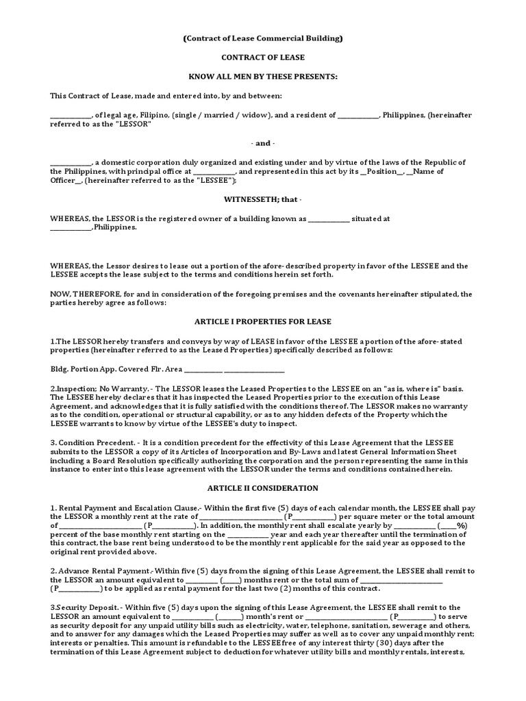 Contract Of Lease Commercial Building Lease Renting