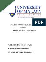 Marine Insurance Assignment
