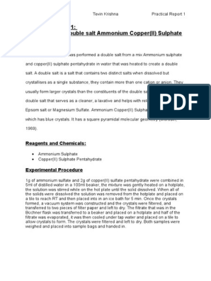 Preparation of Ammonium copper (II) sulphate   Mole (Unit
