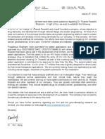 Letter From Prosperous Biopharm CEO --Signed