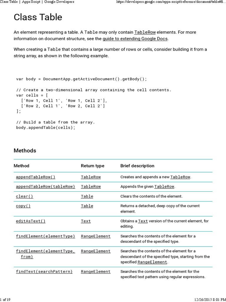 Class Table _ Apps Script _ Google Developers | Regular