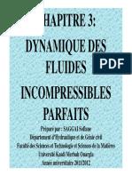 MDF CHAP 3 Dynamique Des Fluides Incompressibles Parfaits