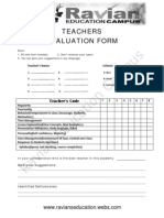Ravian Education Campus - Teacher Evaluation Form