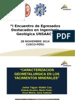 CARACTERIZACION GEOMETALURGICA EN LOS YACIMIENTOS MINERALES