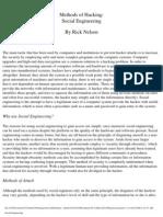Methods of Hacking - Social Engineering