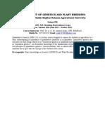 DEPARTMENT of Genetics and Plant Breeding