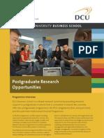 DCU Business School Research Opportunities Brochure