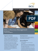 DCU MSc in Business Management Factsheet