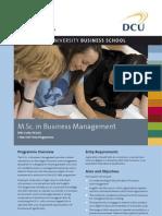 DCU MSc in Business Management Factsheet