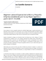 Régimen Laboral Especial de La Micro y Pequeña Empresa Establecido Por La Ley Mype Vigente a Partir Del 01-10-2008