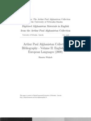 A Paul Bib Afghanistan Bibliography