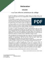 Declaration Reforme Du Collège Février 2016
