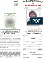 Lovely Deloris Hill Funeral Program