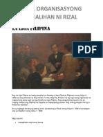 Mga Organisasyong Sinalihan Ni Rizal