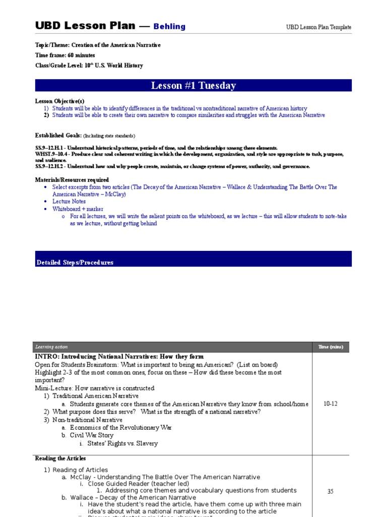 Lesson Plans Day Narrative Lesson Plan - Ubd lesson plan template
