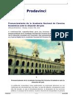 Pronunciamiento de La Academia Nacional de Ciencias Economicas Ante La Situacion Del Pais Monitorprodavinc