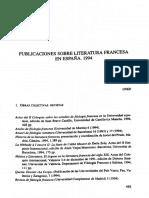 PUBLICACIONES SOBRE LITERATURA FRANCESA EN ESPAÑA. 1994