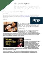 Trik Main Poker Online Agar Menang Terus