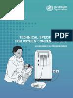 Especificaciones técnicas para concentradores de oxígeno