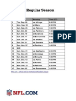 New Orleans Saints 2010 Schedule