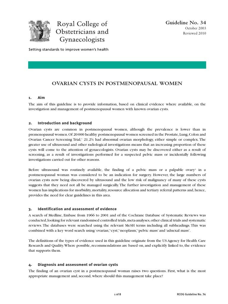 ovarian cancer guidelines rcog