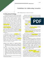 Guideline for Addressing Acoustics