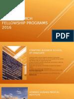 Best Research Fellowship Programs 2016
