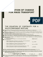 Equation of Change for Mass Transport