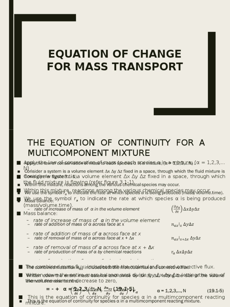Equation of Change for Mass Transport   Diffusion   Flux