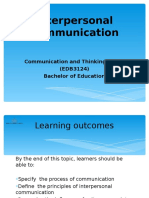 Chp 1 Interpersonal Communication