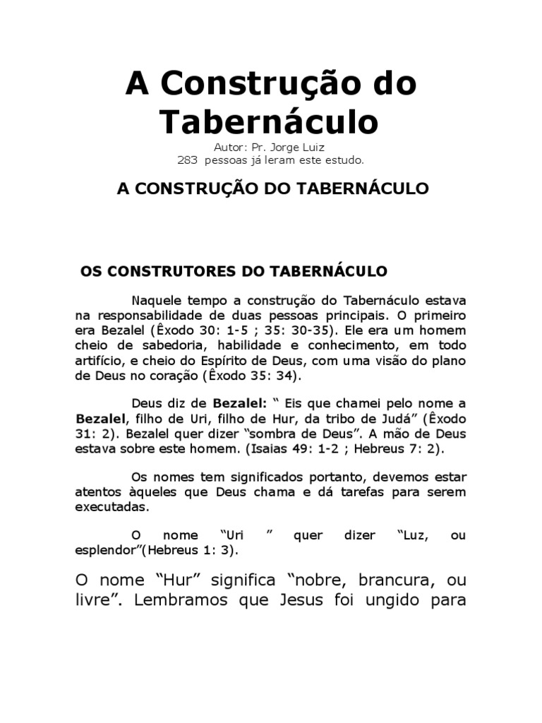 O TABERNACULO BAIXAR ESTUDO SOBRE
