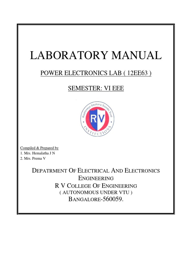 Pe Lab Manual 2016 Power Electronics Inverter R And Rc Firing Circuit Diagram